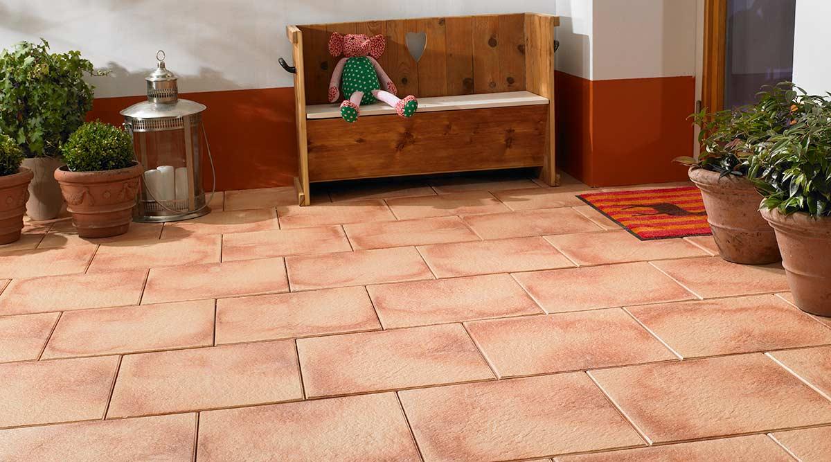 AVELINA Platten Spezialplatten System Avelina Koll Steine - Terrassenplatten 40x40 terracotta